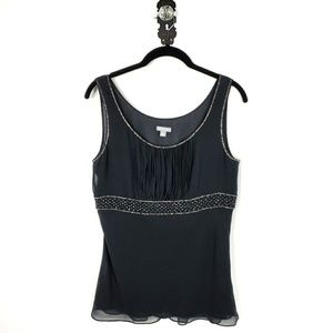 ANN TAYLOR | Beaded Black Silk Chiffon Cami Top 6